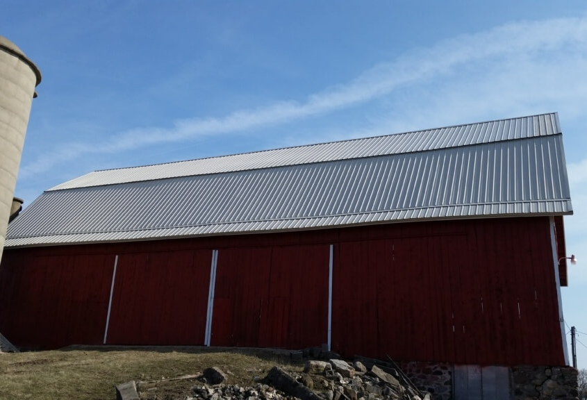 Cecil Barn Roof After with GrandRib 3 Panel in Light Stone