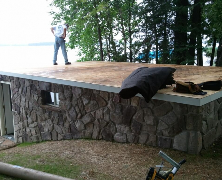 Pelican Lake Boathouse Roofing in Progress