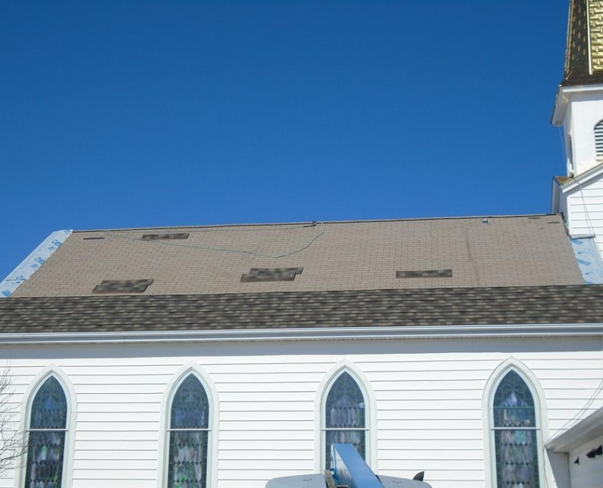 Shawano Church Roof Before Steel Shingle