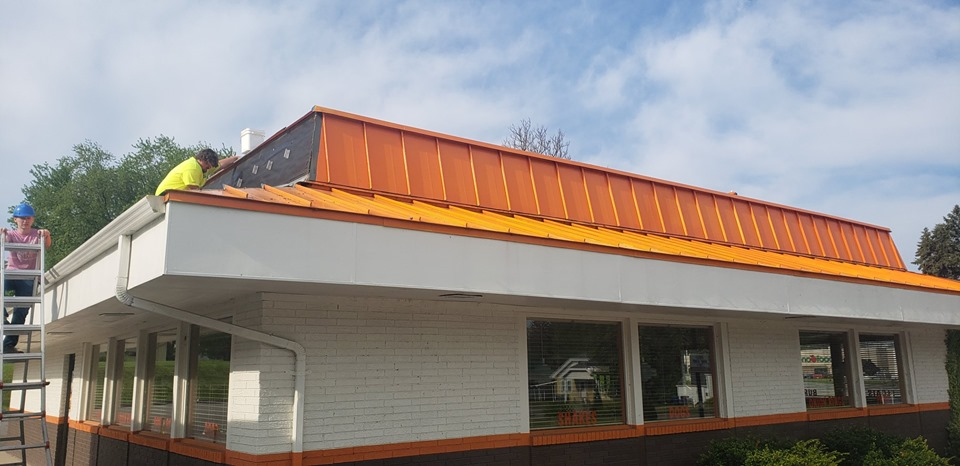 AW Restaurant Orange Steel Roof in Clintonville by NCW