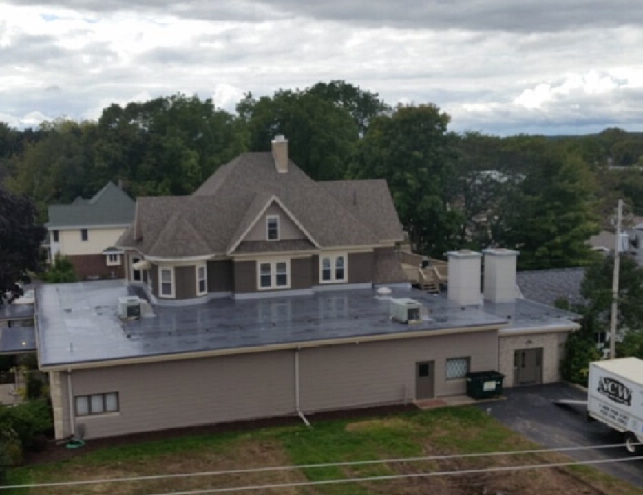 New London Wisconsin Funeral Home Flat Roof Installation by NCW